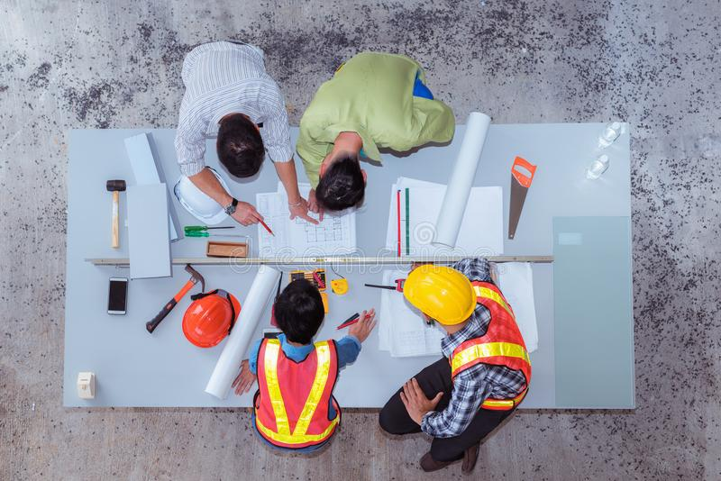 Construction team work, They`re talking about new project, Top v royalty free stock photography