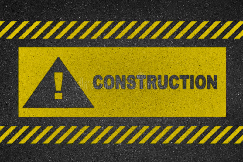 Construction text on load stock photography