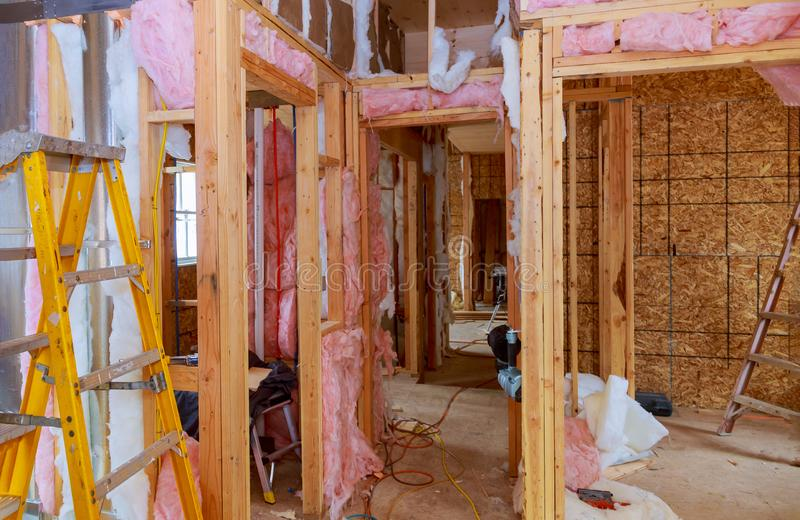 Construction thermally insulating wood frame house with wood fiber plates and heat isolating. Construction thermally insulating wood frame house with wood fiber royalty free stock photography
