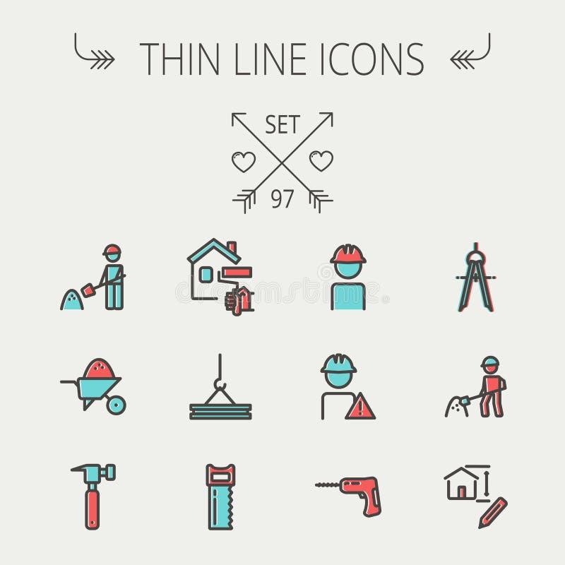 Construction thin line icon set vector illustration