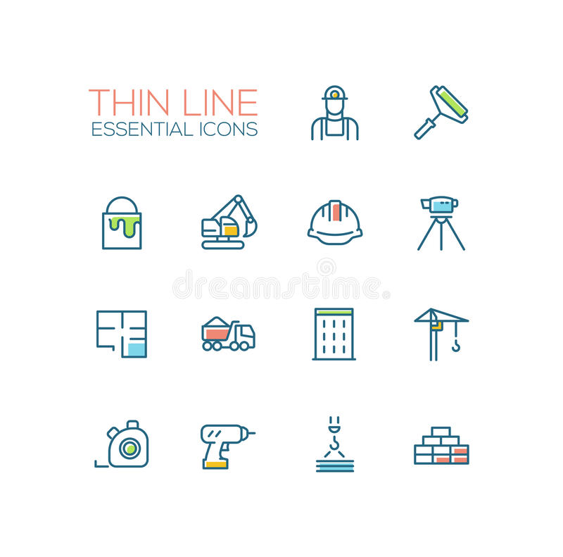 Construction - Thin Single Line Icons Set. Construction - modern vector simple thin line design icons and pictograms set with accent color. Worker, roller, paint stock illustration