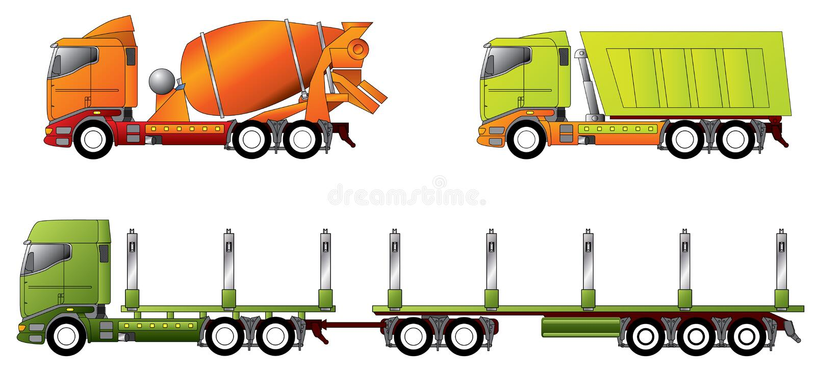 Construction and timber truck. Designs in different colors stock illustration