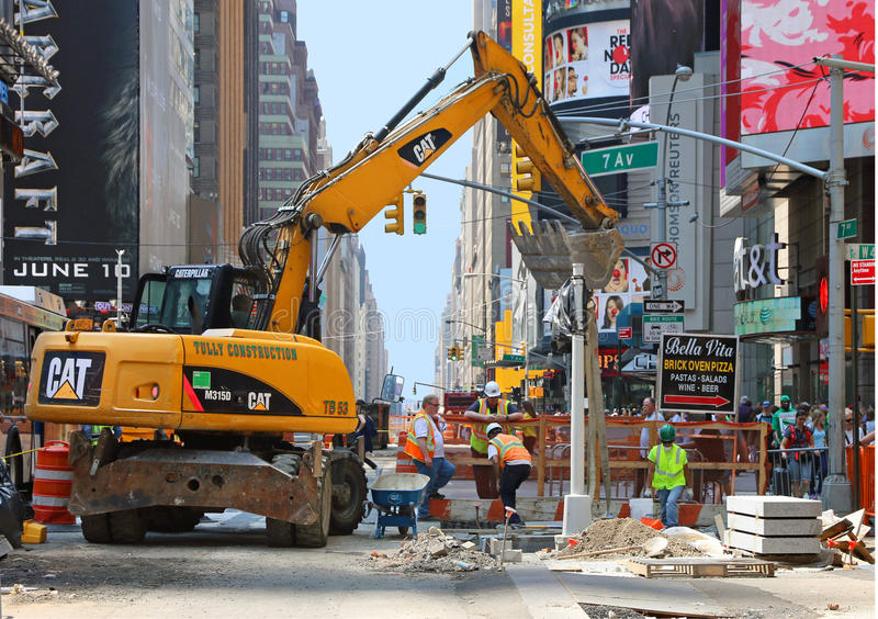 Construction at Times Square royalty free stock photos