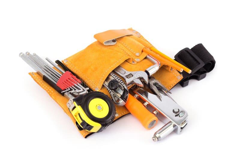 Construction with tool bag stock photos