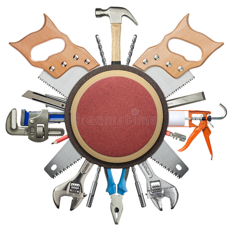 Construction tools. Carpentry, construction hardware tools collage stock image