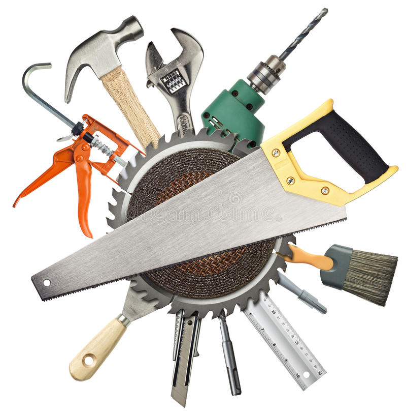 Construction tools. Carpentry, construction hardware tools collage stock photo