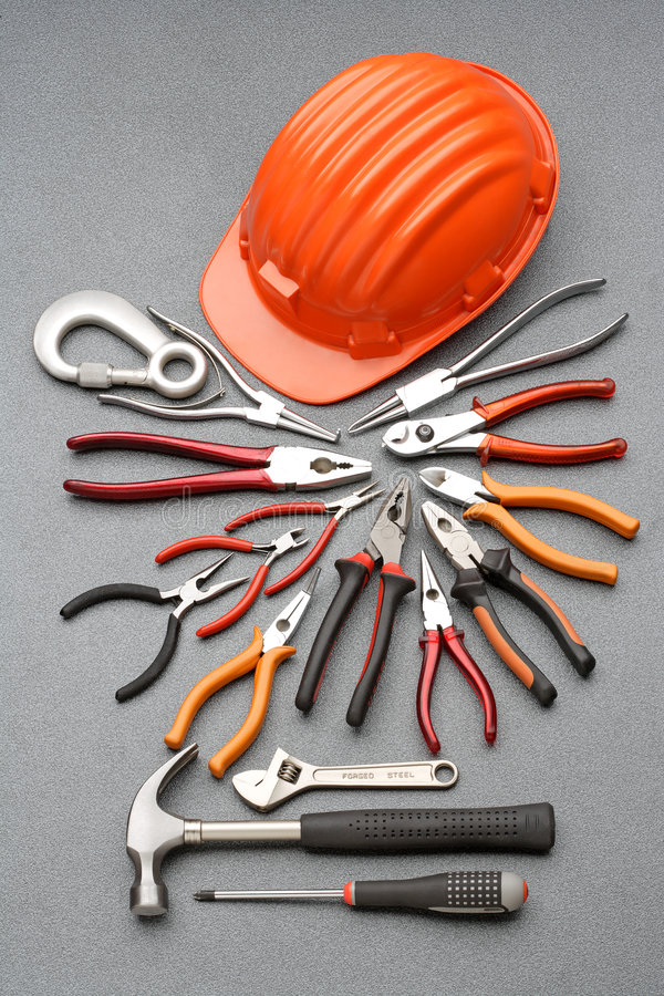 Safety helmet and tools royalty free stock images