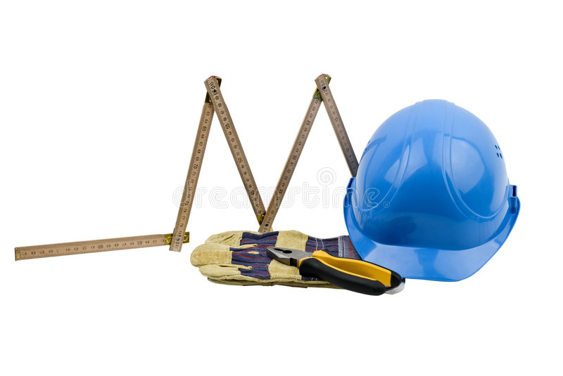 Construction tools. One blue helmet,protective glove,pliers and a carpenter measure on white background.Also,check out stock photography