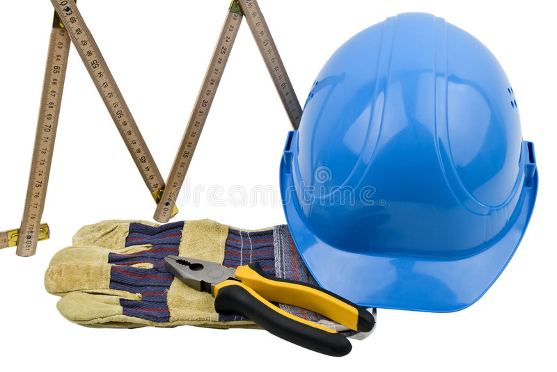 Construction tools. Close up of few construction tools isolated on white background.Also,check out royalty free stock photo