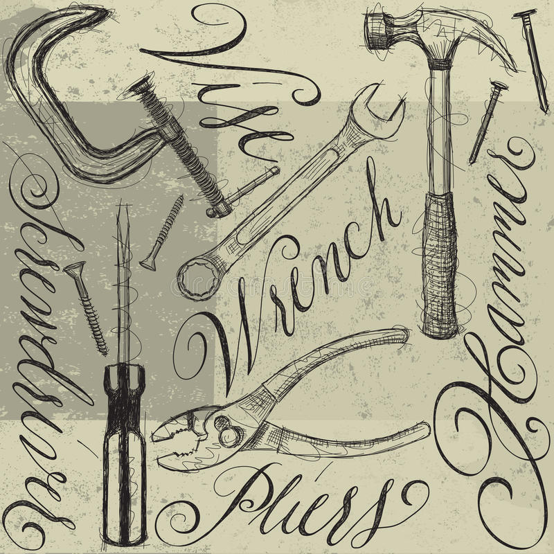 Construction tools with calligraphy vector illustration