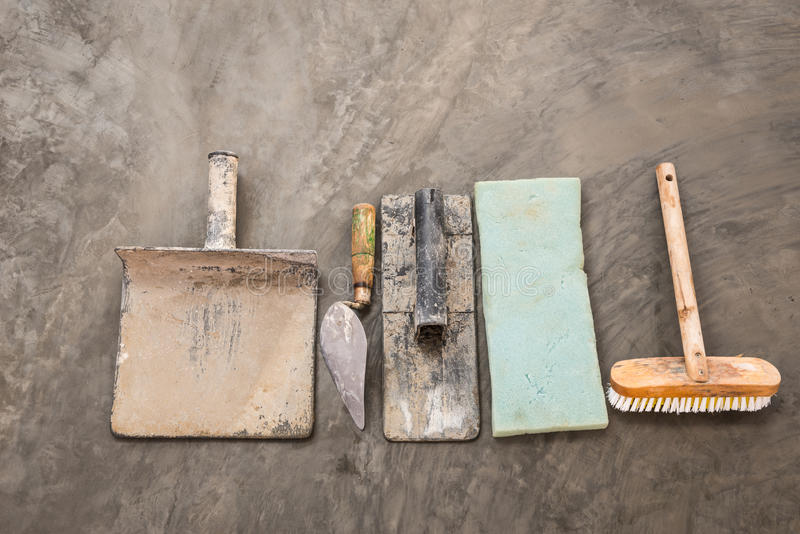 Construction tools for concrete job stock photography