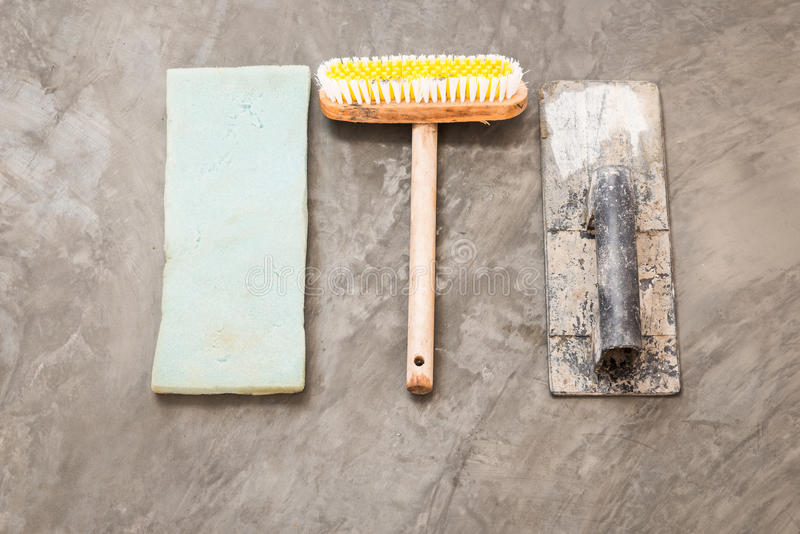 Construction tools for concrete job stock images
