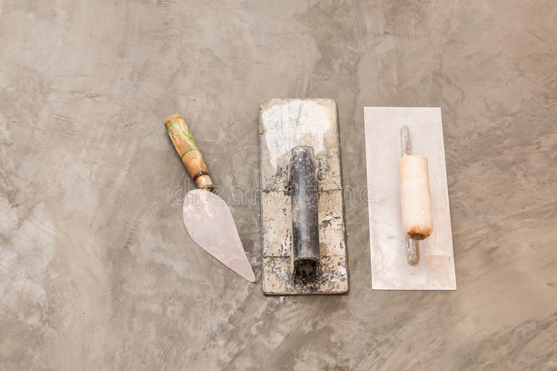 Construction tools for concrete job stock photos