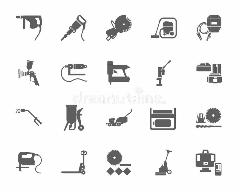 Tractor Parts Icon : Construction tools and consumables monochrome icons