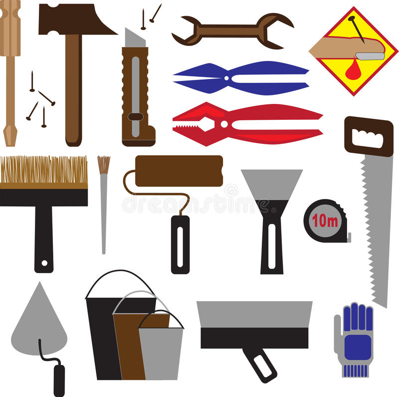 Download Construction Tools And Equipment Stock Vector - Illustration of home, blade: 32157546