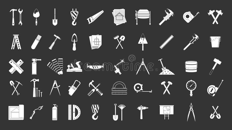 Construction tools icon set grey vector. Construction tools icon set vector white isolated on grey background stock illustration
