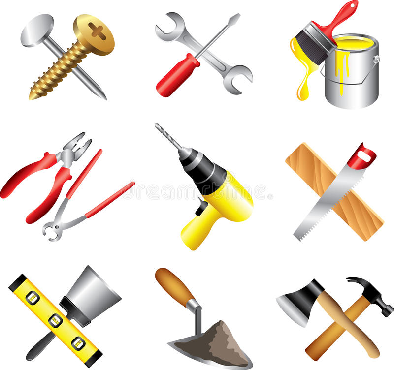 Construction tools icons detailed set royalty free illustration