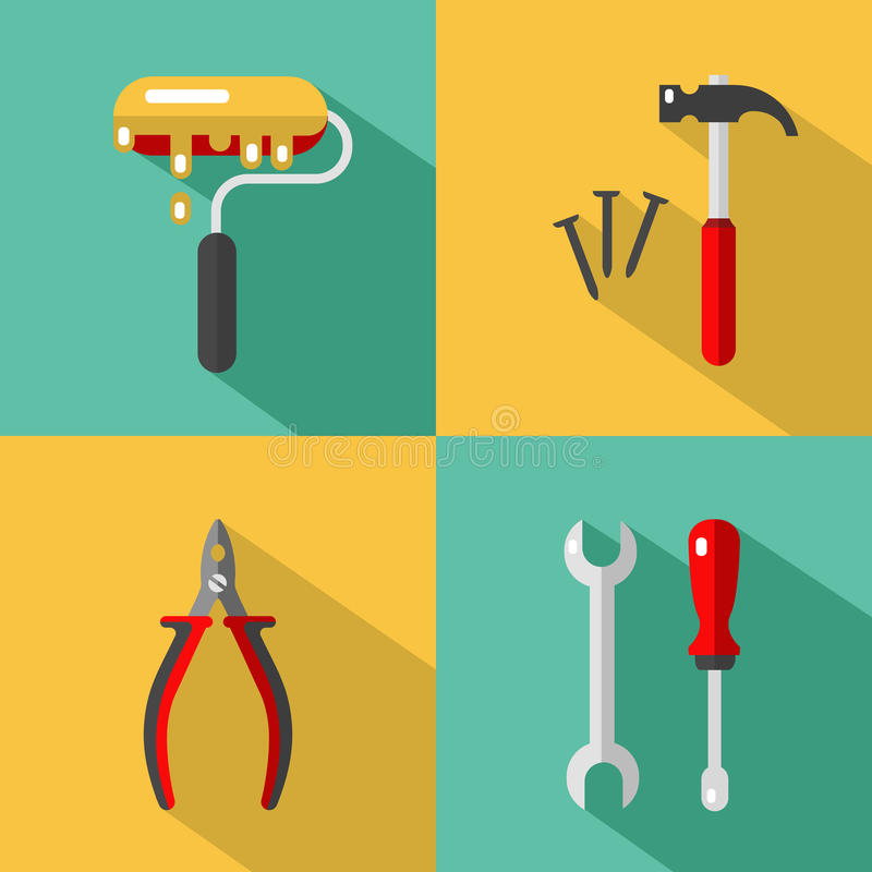 Construction tools icons stock illustration