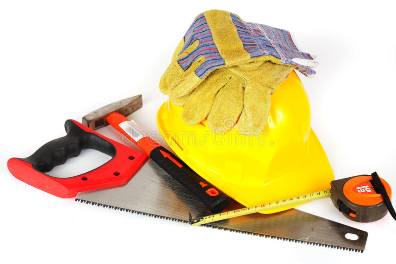 Construction tools isolated on white background royalty free stock photo