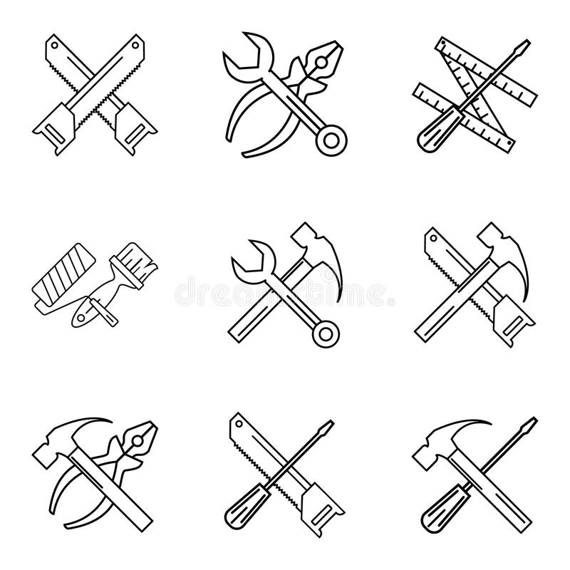 Construction tools. Repair linear icons. Vector set. stock illustration