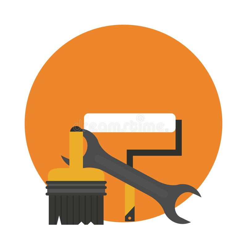 Construction tools round icon vector illustration
