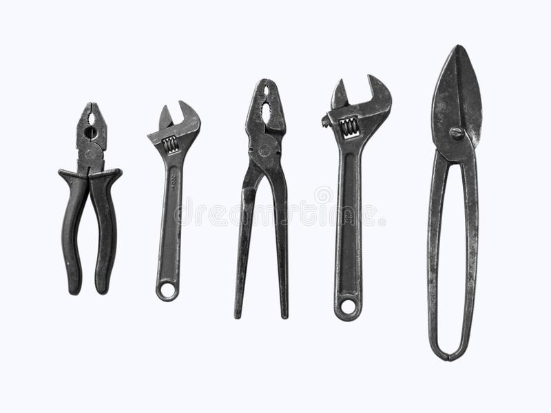 Construction tools on white background. Copy space for text. Set of assorted work tools. Top view royalty free stock photography
