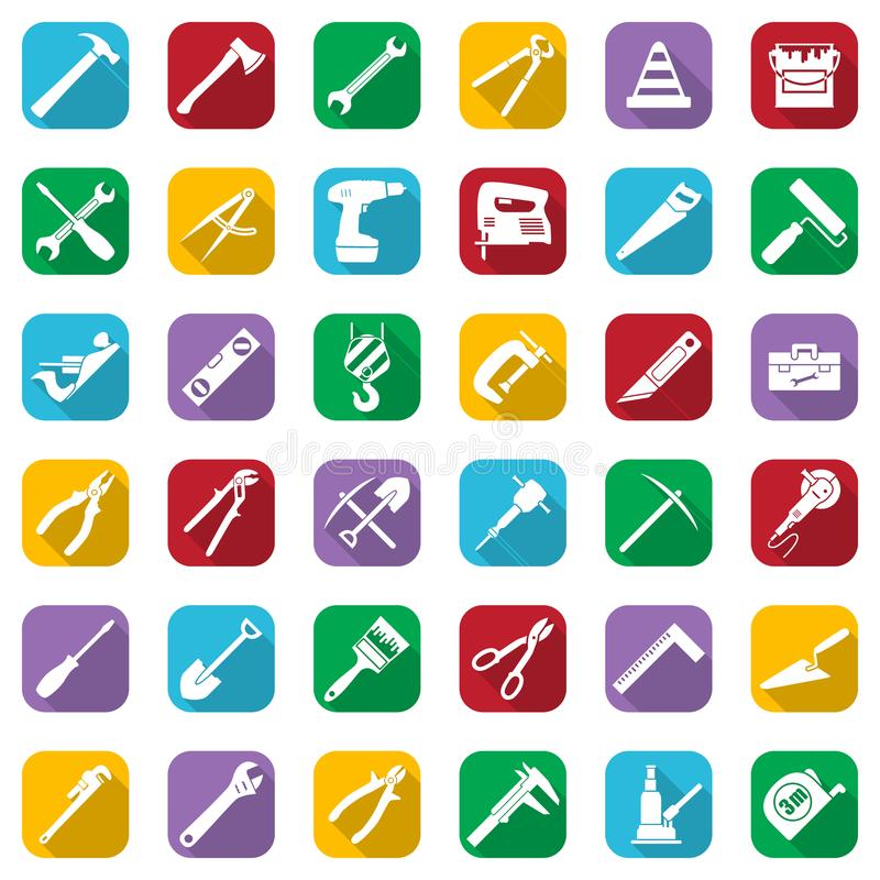 Construction tools white icons set on a color square. Vector industrial signs collection. Construction tools white icons set on a color square. Vector royalty free illustration