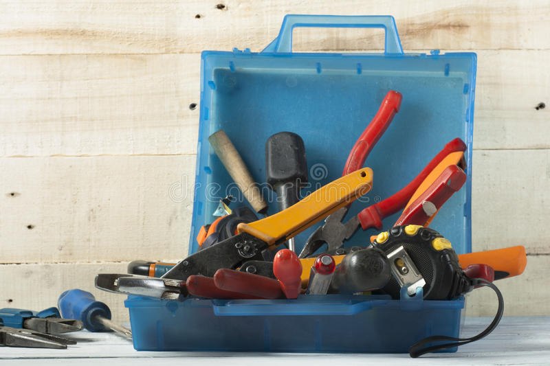 Construction tools on wooden background. Copy space for text. Set of assorted work tool. Top view royalty free stock photos