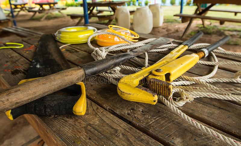Construction tools on wooden background. Copy space for text. Set of assorted work tools at wood table. royalty free stock photo