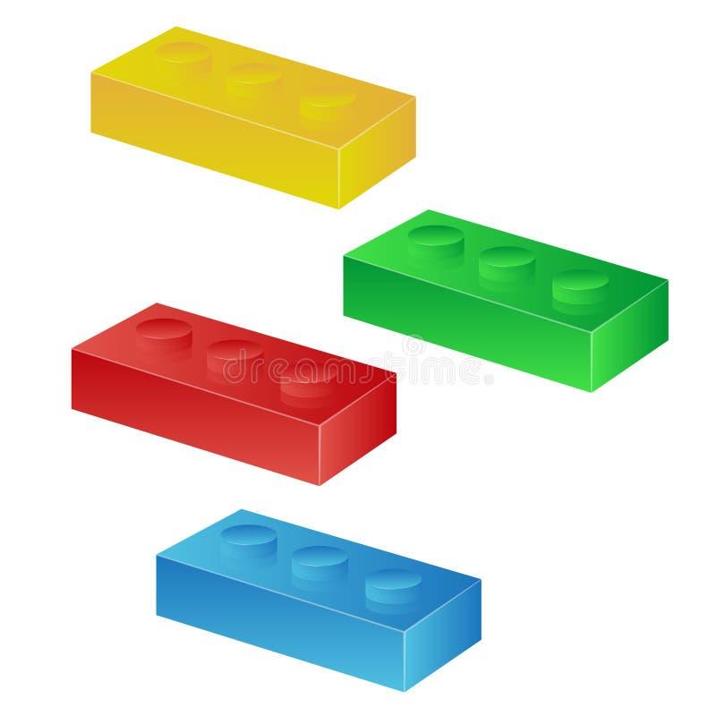 Construction toy cubes. Connector bricks. 3D isometric set vector illustration