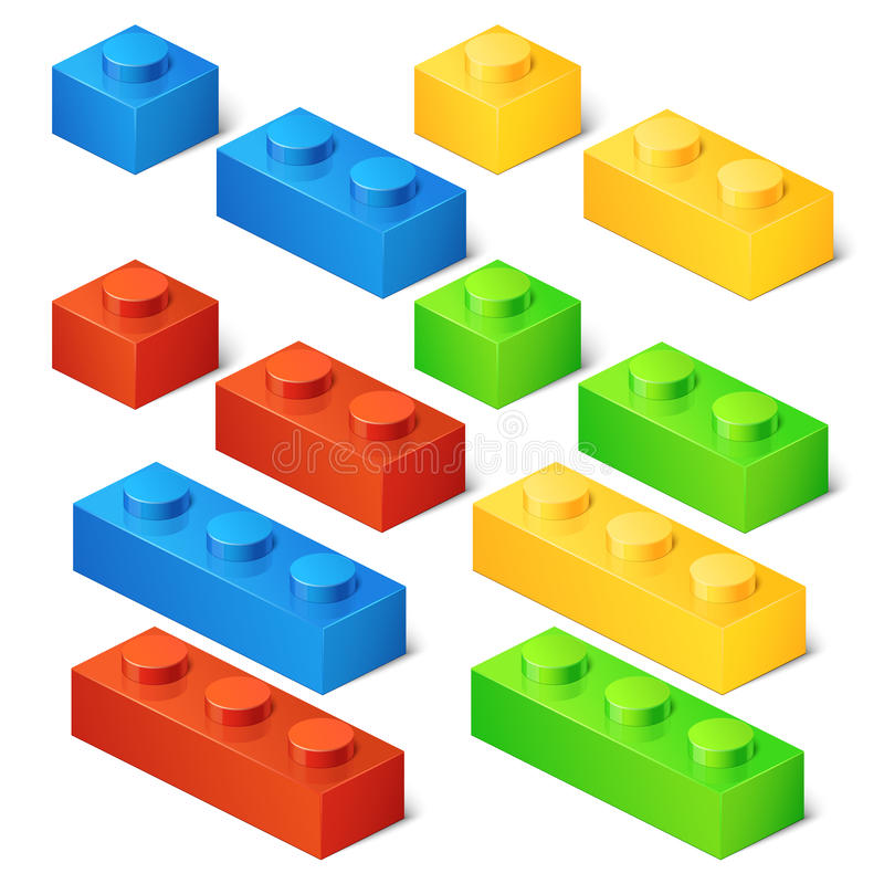 Construction toy cubes. Connector bricks. 3D isometric set royalty free illustration