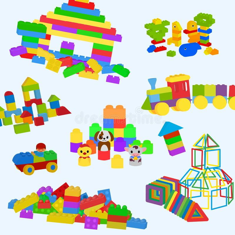 Construction toys pattern. Lego, wooden bricks and magnetic figures for preschool childrens. Building tower, castle stock illustration