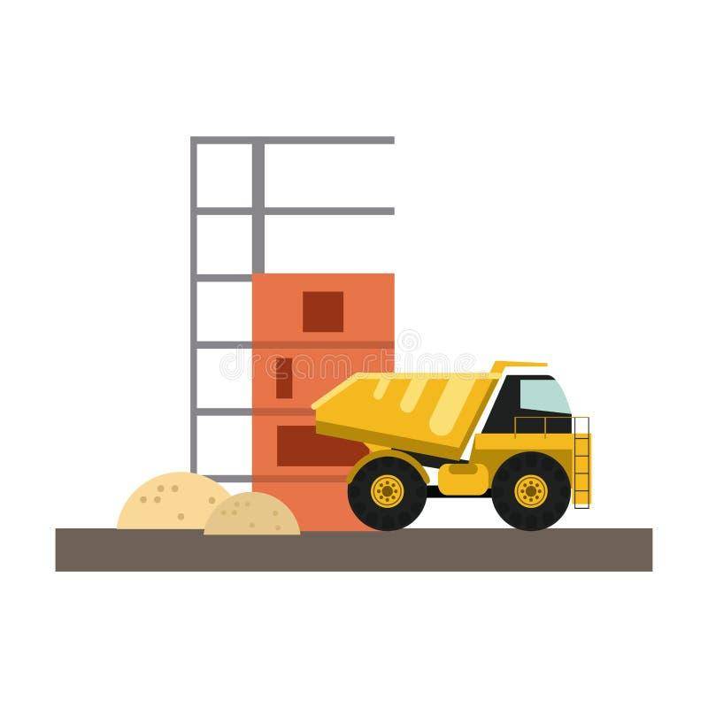 Construction truck loading sand. Vector illustration graphic design royalty free illustration