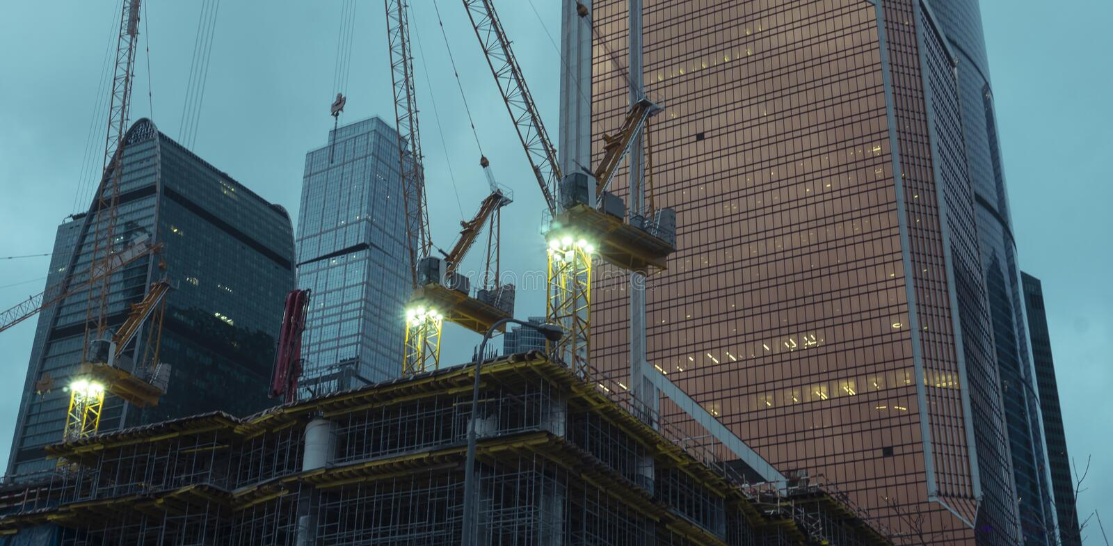Construction in the twilight morning royalty free stock photography