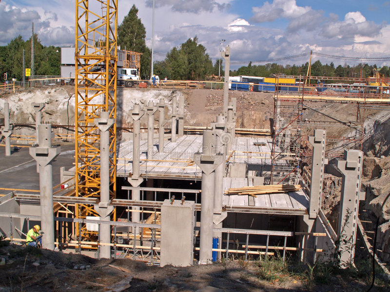 Construction of underground garage stock photo