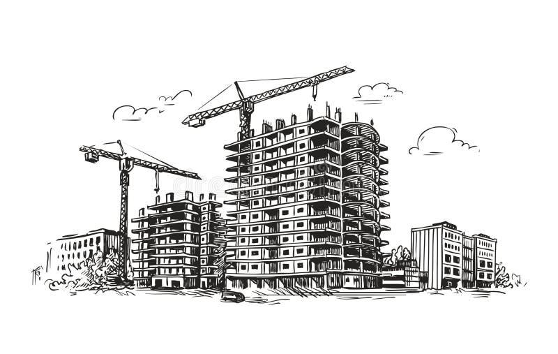 Construction urbaine, croquis de construction Ville, maison, illustration de vecteur de ville illustration libre de droits