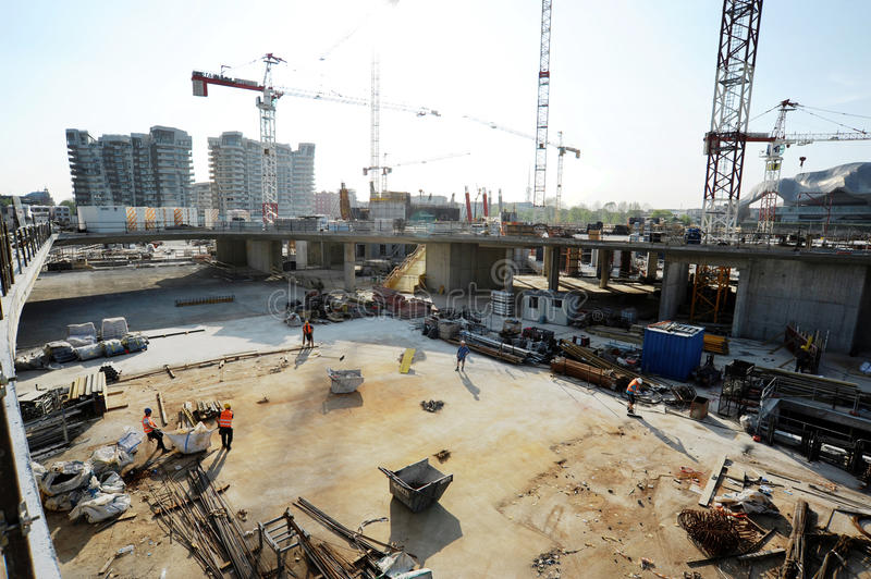Construction on an urban building site stock images