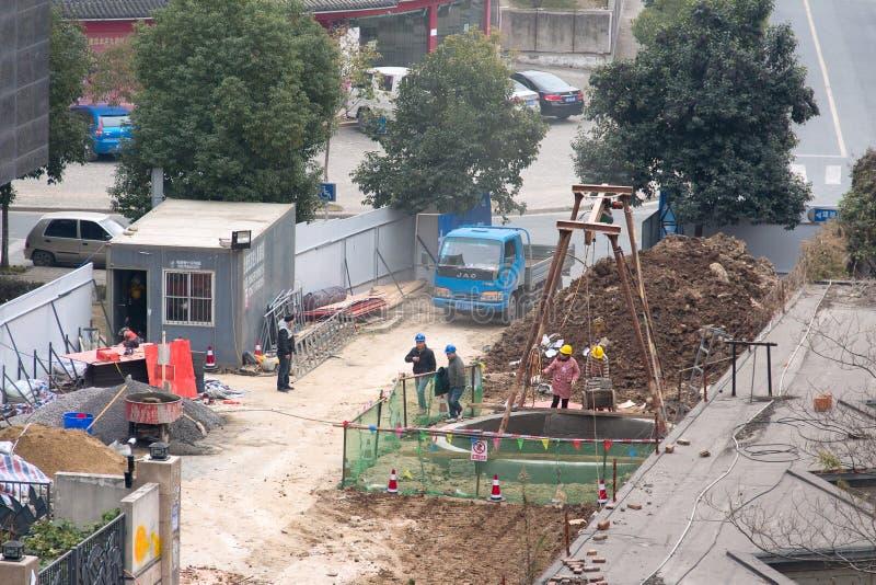 Construction of urban sewage stock photography