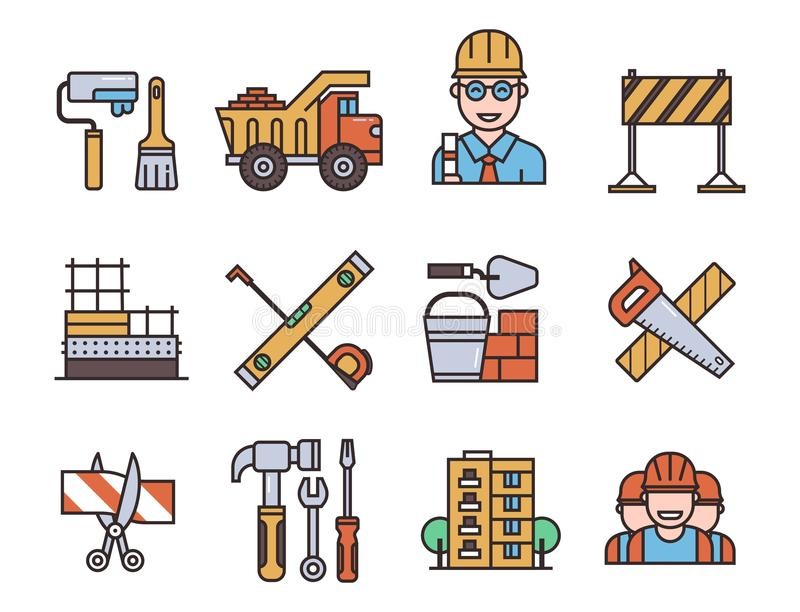 Construction vector linear icons universal building elements and worker equipment flat industry tools illustration. vector illustration
