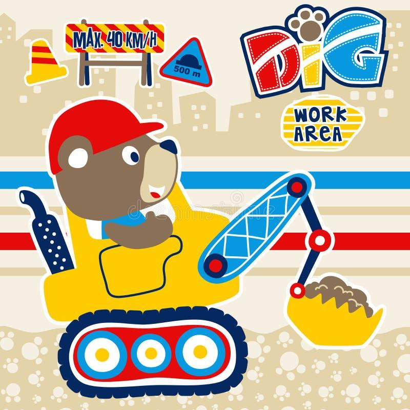 Construction vehicle cartoon with funny bear stock illustration