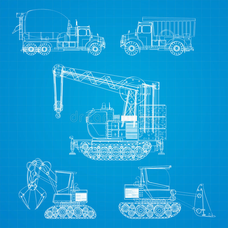 Construction Vehicles Blueprint Stock Photos