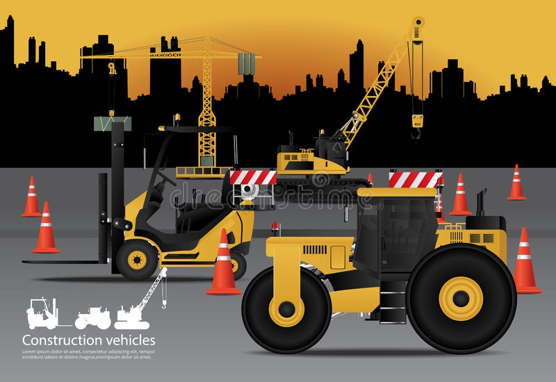 Construction Vehicles Set with Building Background stock illustration