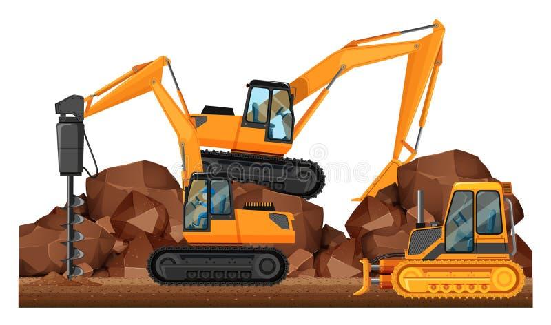 Construction vehicles working at site. Illustration stock illustration