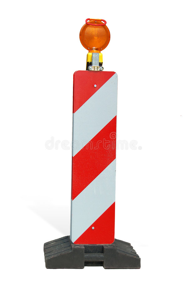 Construction warning sign. Construction warning light royalty free stock photography