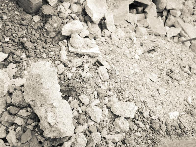 Construction waste gray and white stock images