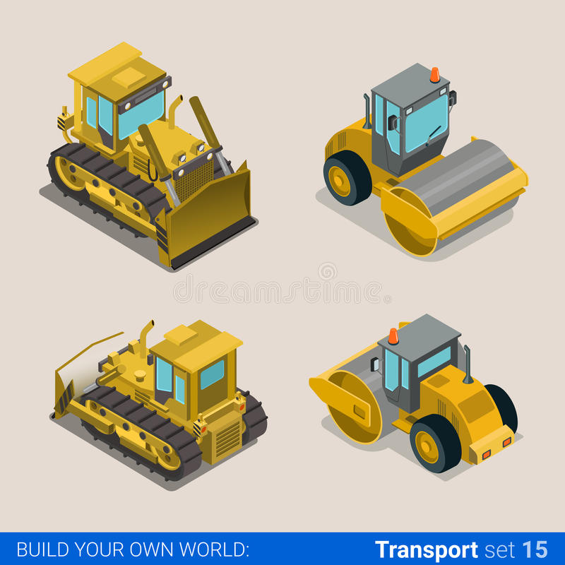 Construction wheeled combine vector flat isometric vehicles. Flat 3d isometric style modern road highway surface making construction site wheeled track vehicles vector illustration