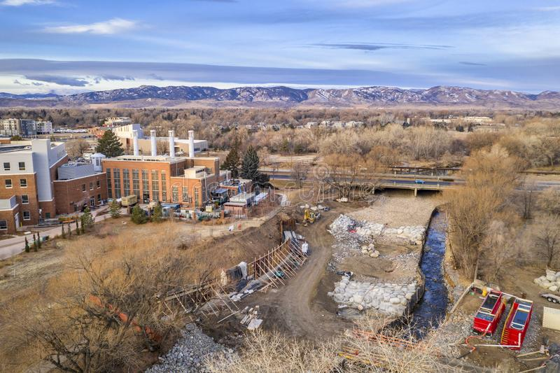 Construction of whitewater park. On the Poudre River in downtown of Fort Collins, Colorado, aerial view stock photo