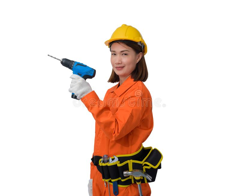 Construction workers wearing Orange Protective clothes, helmet hand holding electric drill with tool belt isolated on white. Construction woman workers wearing stock images