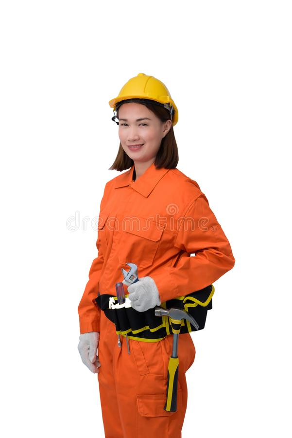Construction workers wearing Orange Protective clothes, helmet hand holding wrench with tool belt isolated on white backround. Construction woman workers wearing stock images