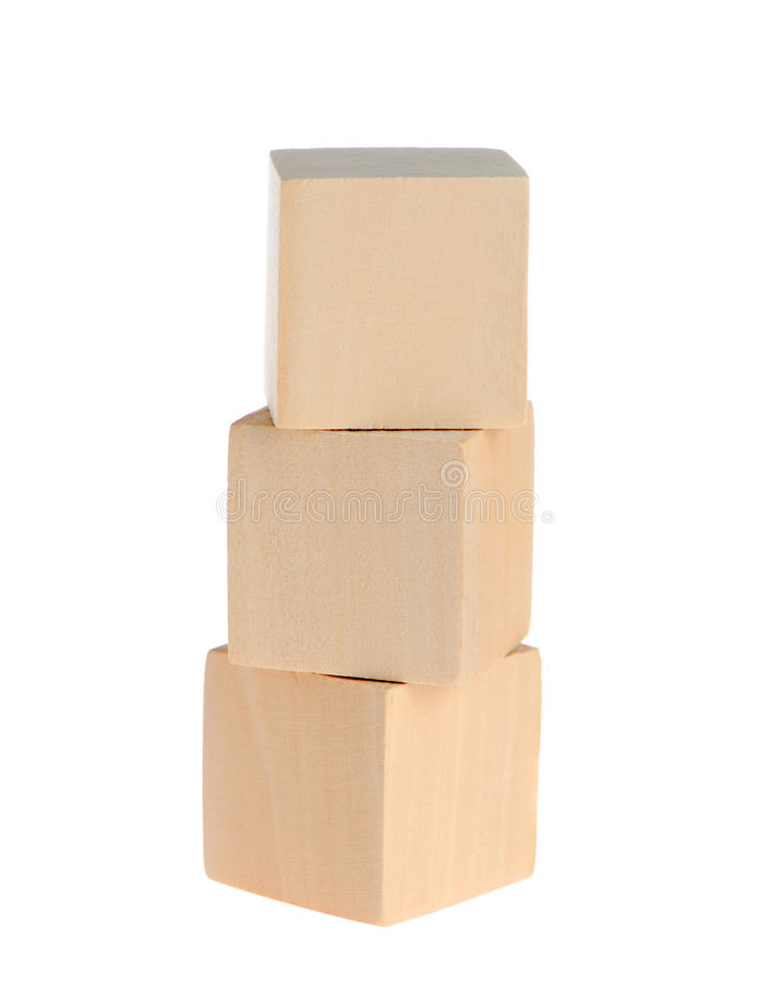 Construction From Wooden Cubes Stock Images
